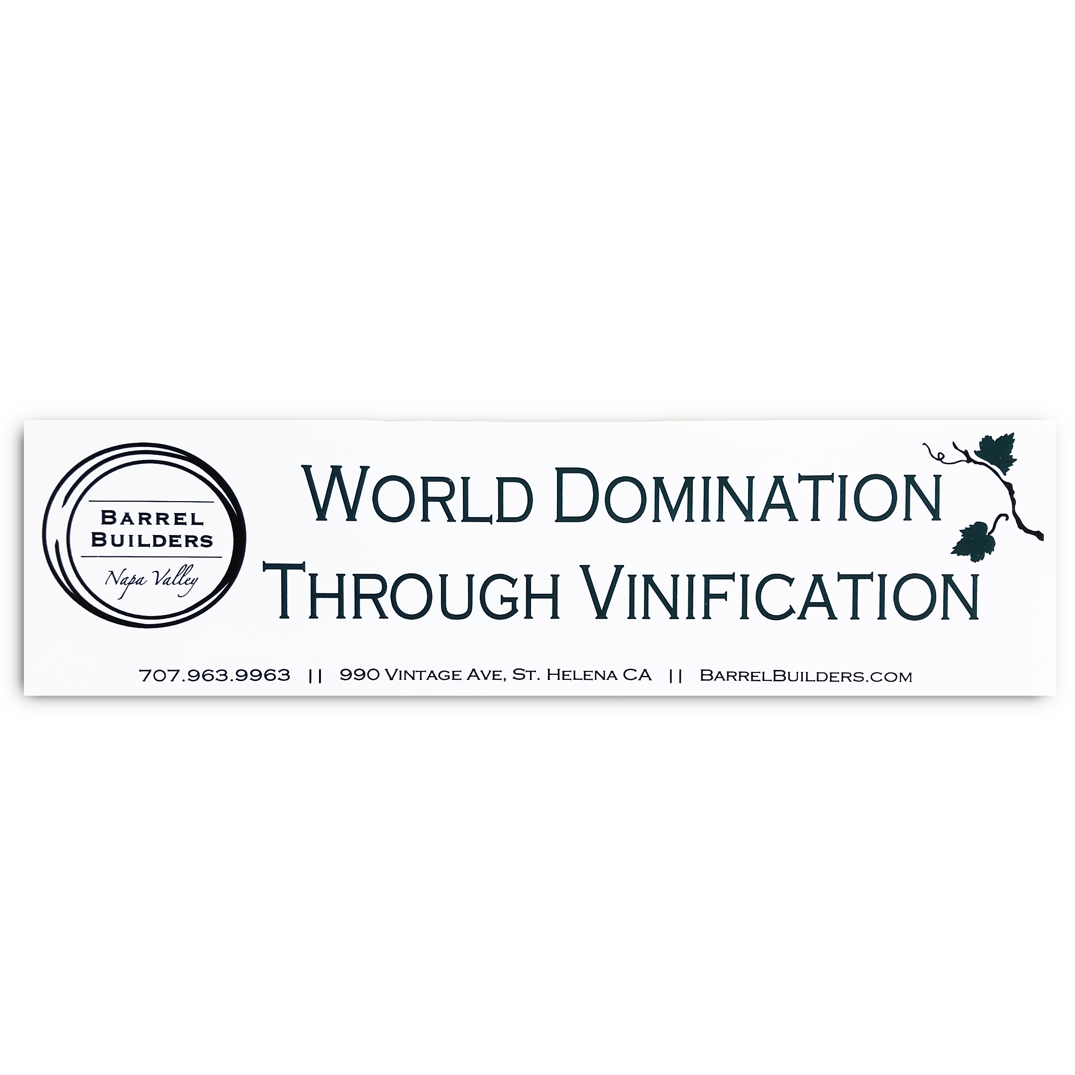 'World Domination Through Vinification' Bumper Sticker